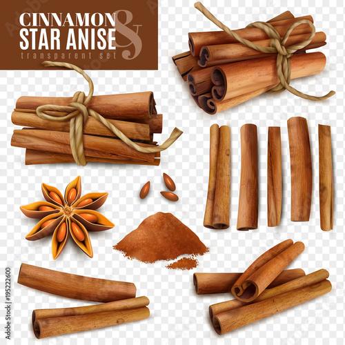 Cuadros en Lienzo Cinnamon Star Anise Transparent Set