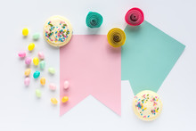 Sugar Cookies, Pastel Jelly Beans, Paper Flowers And Blank Banners