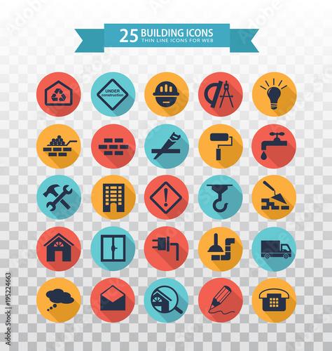Flat construction icons  Web icons set - building