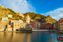 Vernazza Village Center With Church And Houses At Down, Cinque Terre National Park, Liguria, Italy.