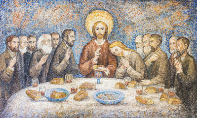 FototapetaCARAVAGGIO, ITALY - 24-8-2016. Mosaic : The last supper