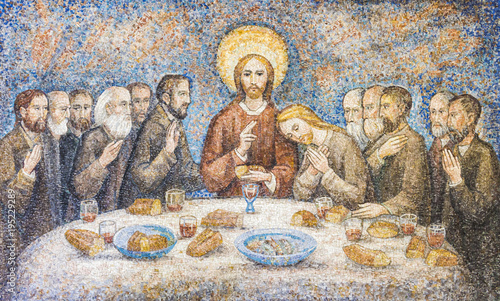 Vászonkép CARAVAGGIO, ITALY - 24-8-2016. Mosaic : The last supper