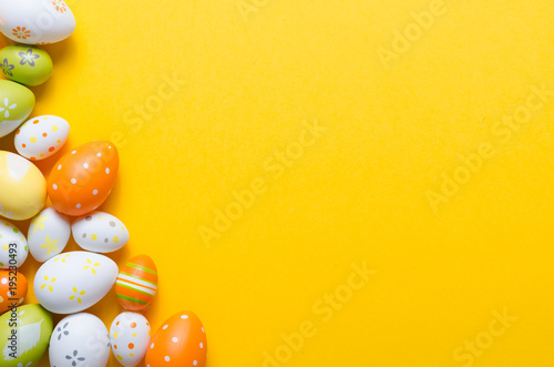 Happy easter decoration background, colorful eggs