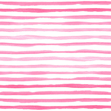 Watercolor Seamless Pattern With Pink Horizontal Stripes.