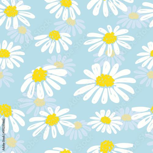 Fotografie, Obraz Seamless doodle daisy pattern