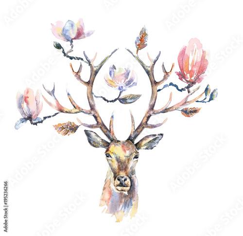 glowa-jelenia-poroze-w-kwiatach