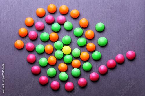 Foto op Aluminium Snoepjes Multicolor sweet candies on a grey