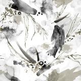 Bezszwowy wzór z pluśnięciami, rozmazami i tropikalnymi liśćmi. Abstrakcjonistyczna graficzna ilustracja. Nowoczesna tekstura w odcieniach beżu. Monochromatyczny projekt przyrody. Idealny na plakat, druk na tkaninie. - 195237251