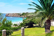 Arenal d'en Castell, Menorca, Spain, Europe. Turquoise beach, palm trees and lots of sun.