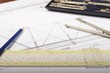 Architectural drawings on white paper