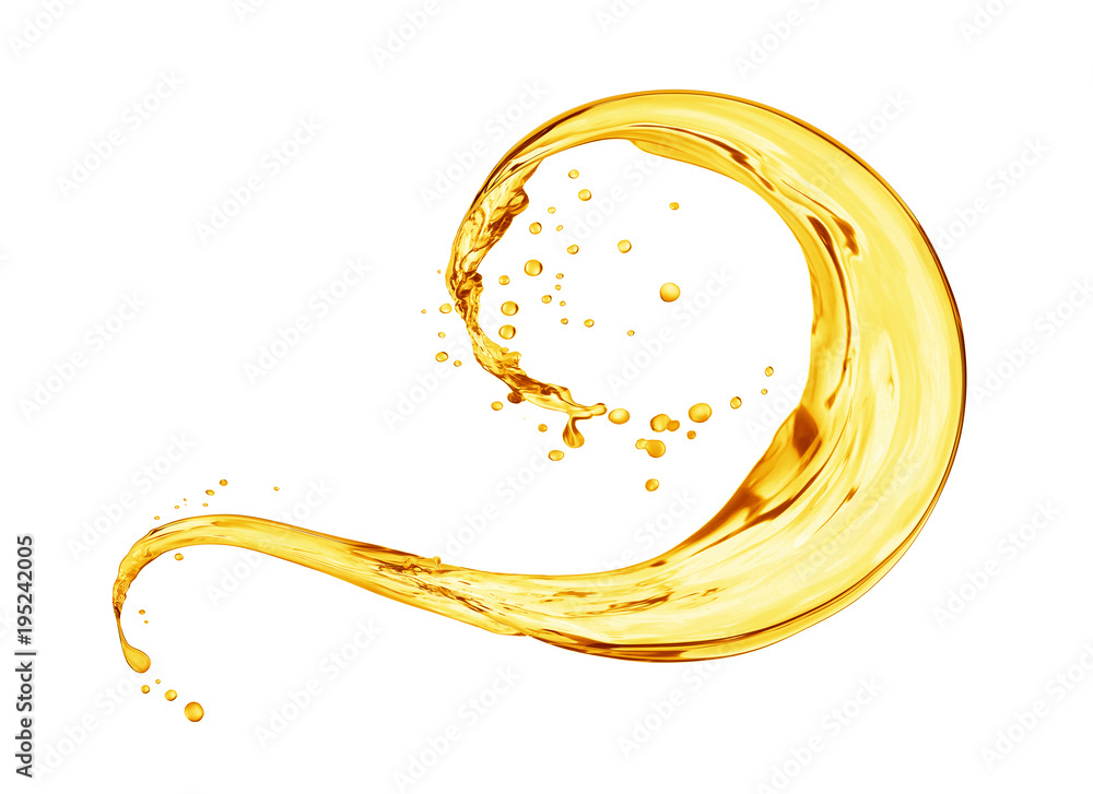 Splash of oily liquid close-up isolated on white background
