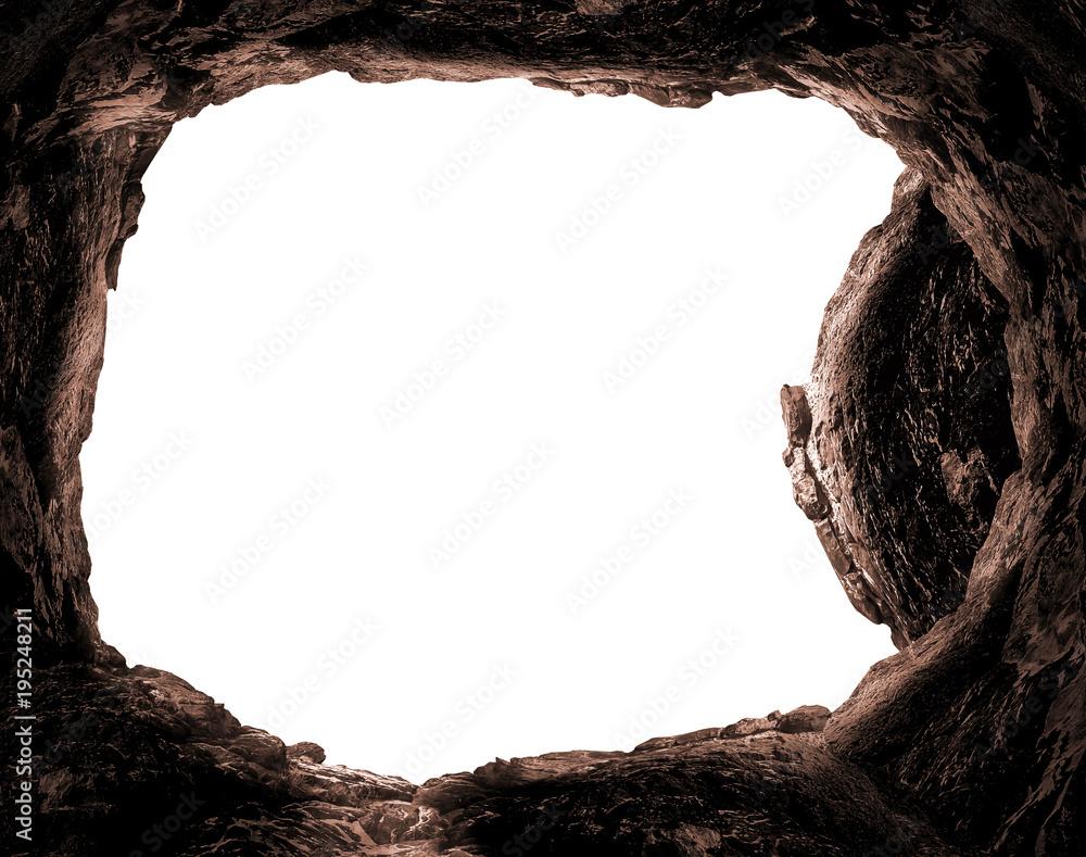 Fotografia Resurrection concept: Empty tomb stone isolated on white background