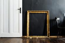 Door And Frame In Black Interior