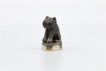 Little Black And Silver Tiger, Isolated On White Background ,Thailand Amulet Symbolic