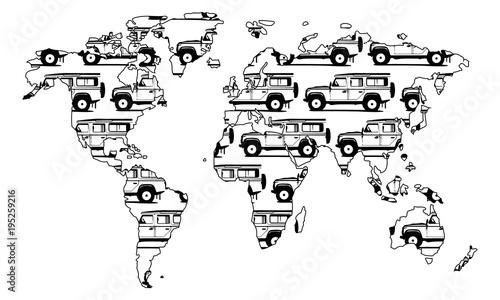 Worldmap Weltreise Land Rover Defender 110 Canvas Print