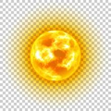 Sun, Transparent Background, Heavenly Body, Cartoon, Realistic. Star In Center Of Solar System For Illustrators. Vector Illustration Of Celestial Luminary