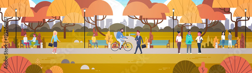 Outdoor Park Activities, People Relaxing In Nature Walking Riding Bicycle And Communicating Horizontal Banner Flat Vector Illustration