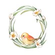 Bird and floral wreath. Watercolor painting