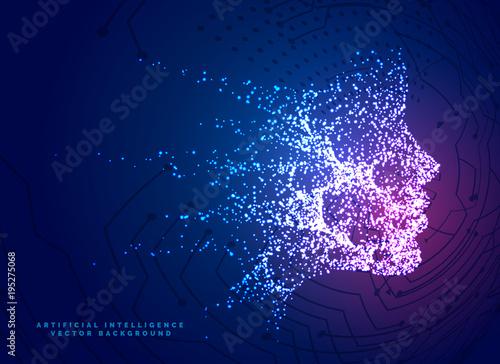 Fotografie, Obraz  digital particle face technology concept background for artificial intelligence