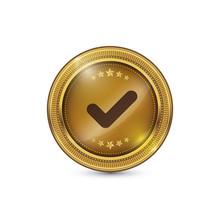 Tick Mark Circular Gold Vector Web Button Icon
