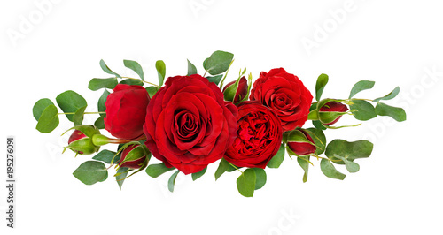 Red rose flowers with eucalyptus leaves in a line arrangement