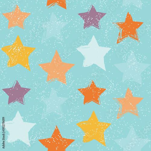 Cotton fabric Seamless pattern with hand drawn stars