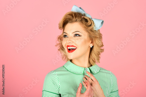 Fotografie, Obraz  Woman With Pinup Makeup And Hair Style