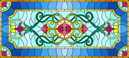Naklejka llustration in stained glass style with abstract swirls,flowers and leaves on a light background,horizontal orientation