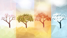 Four Seasons Banners With Abstract Trees - Vector Illustration.