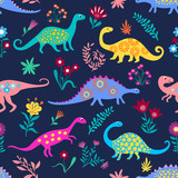 Fototapeta Dinusie - Dinosaurs Cute kids pattern for girls and boys, Colorful Cartoon Animals on the abstract seamless background, Artistic Backdrop for textile and fabric.
