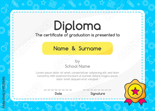 Kids Diploma Certificate In Cute Style Blue Background Template Layout Design Lovely Graphic Coupon For