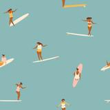 Dziewczyna surferów w bikini wzór w wektorze. - 195297845