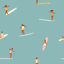 Girl Surfers In Bikini Seamless Pattern In Vector.