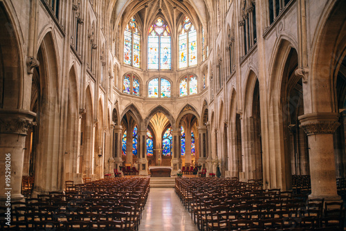 Fotografia, Obraz  interior of Saint Severin gothic church