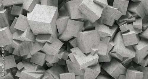 Fototapety, obrazy: concrete 3d cube wall background