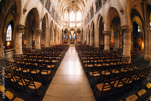 Fototapeta  interior of Saint Severin gothic church