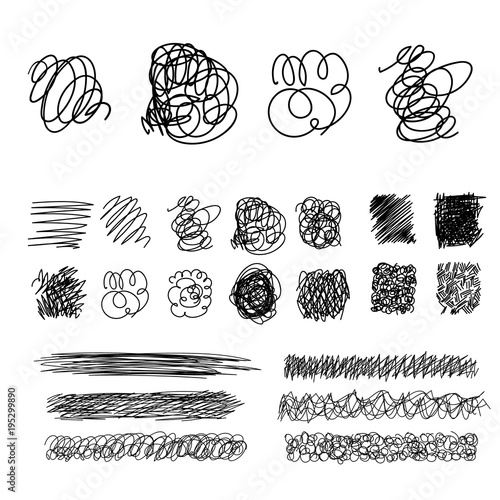 Fotografie, Obraz  Vector light set of hand drawn scribble line shapes