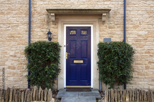 Pinturas sobre lienzo  Modern blue painted front door flanked by shrubs