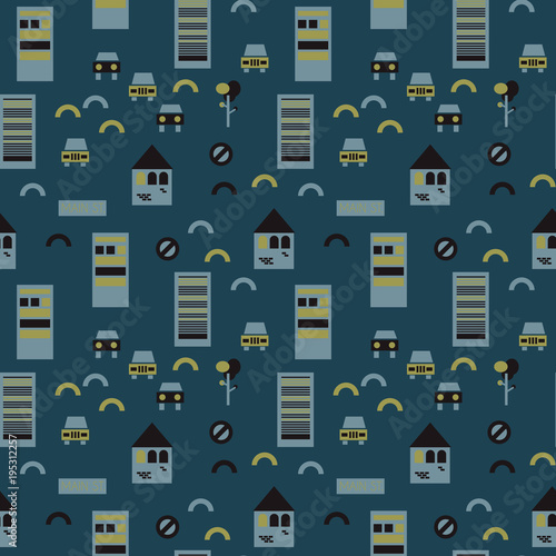 Street illusion seamless pattern. Suitable for screen, print and other media. Wall mural