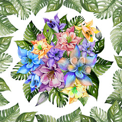 Naklejka Na szybę Round bunch of columbine flowers or aquilegia in square frame made of exotic monstera leaves on white background. Watercolor painting. Tropical floral pattern.