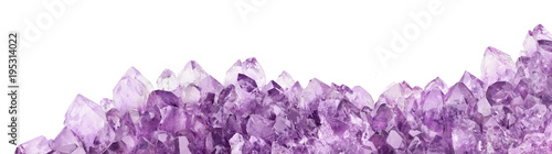 Leinwand Poster isolated amethyst light crystals long stripe