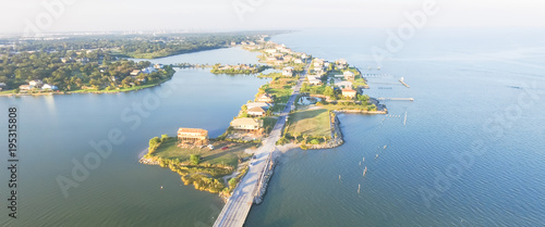 Aluminium Prints Sea Panorama aerial view of Seabrook city near Texas Gulf Coast and Clear Lake. Waterfront harbor town with pier. Wooden vacation house under construction. Real estate and beach travel background
