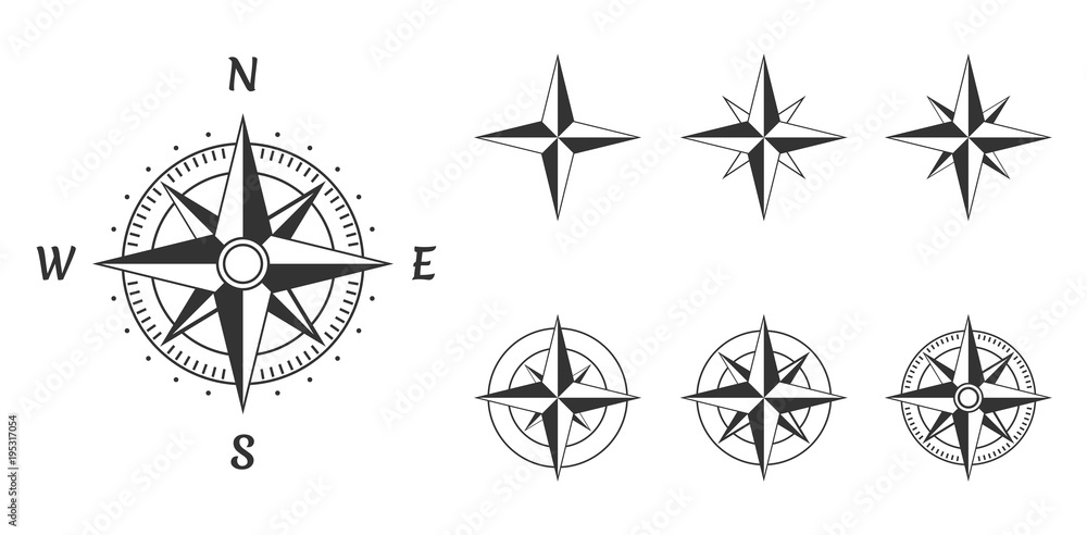 Fototapety, obrazy: wind rose compass icons set, vector illustration