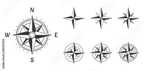 Fotografía  wind rose compass icons set, vector illustration