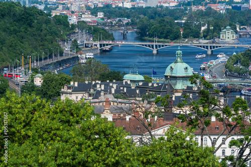 Foto op Plexiglas Kiev View over Prague, Danube and bridges