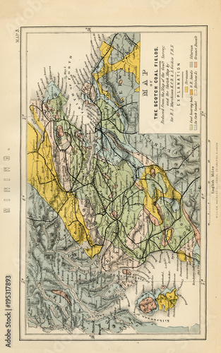 Antique Map Of Scotch Coal Field Early Vintage Maps Of The - Where to buy antique maps