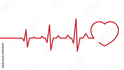 Valokuvatapetti Heart pulse, Cardiogram line vector illustration, Heartbeat