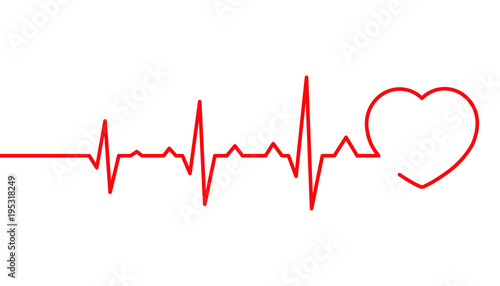 Heart pulse, Cardiogram line vector illustration, Heartbeat Fototapet