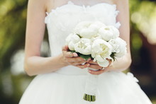 Bridal White Peony Bouquet In...