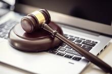 Justice Gavel On Laptop Comput...